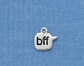 BFF Best Friends Forever Emoticon Texting Silver Plated Charm  chs1320
