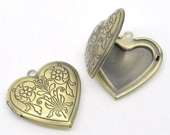 2 Antique Bronze Flower Pattern Heart Picture/ Photo Frame Locket Pendants 29x29mm (Fits 21x17mm) CHB0155