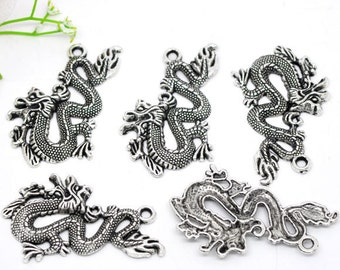 2 Large Silver Tone Chinese Dragon Charm Pendants 52x32mm. chs0821