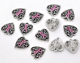 4 Silver Tone Pink Rhinestone Ribbon Breast Cancer Awareness Heart Charm Pendants 16x14mm  chs0709