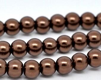 8mm Dark RICH CHOCOLATE BROWN Coffee Colored Glass Pearls . 50 beads . bgl0441