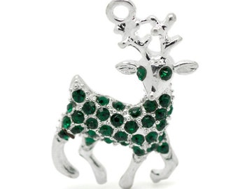 1 Silver Green RHINESTONE REINDEER Christmas Charm Pendant . green pave crystals  chs0949