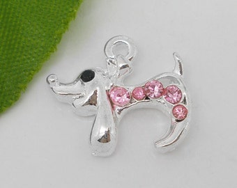 4 Silver and pink rhinestone DOG Dachshund Puppy charms pendants  .  crystal accents chs0956