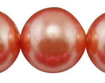 """4mm CORAL TANGERINE Round Glass Pearls . long 32"""" strand . about 210 beads . bgl0406"""