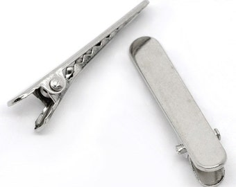 50 Silver Tone Barrettes Hair Clips 35 x 7mm . Alligator Teeth . fin0259