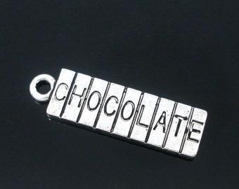 6 Silver Tone Metal Pewter CHOCOLATE BAR Charm Pendants  22mm x 7mm chs0617