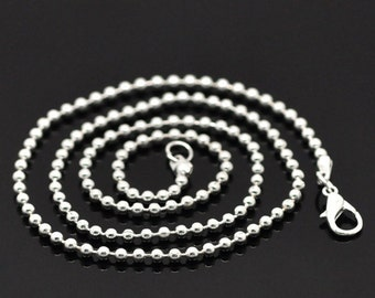 """One Dozen (12) Silver Plated BALL CHAIN Necklaces, lobster clasp, 18"""" long, 2.4mm  fch0063b"""