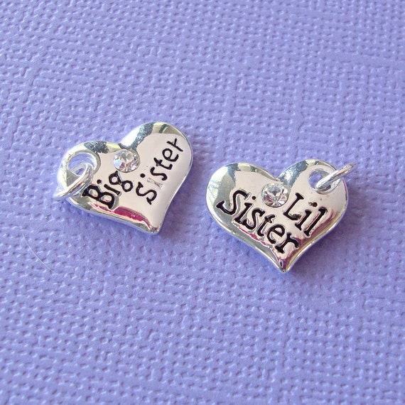 PAIR of Big Sister and Lil Sister. Sorority Sis .  2 Silver Plated Heart Charms with Austrian Crystal Rhinestone chs1069
