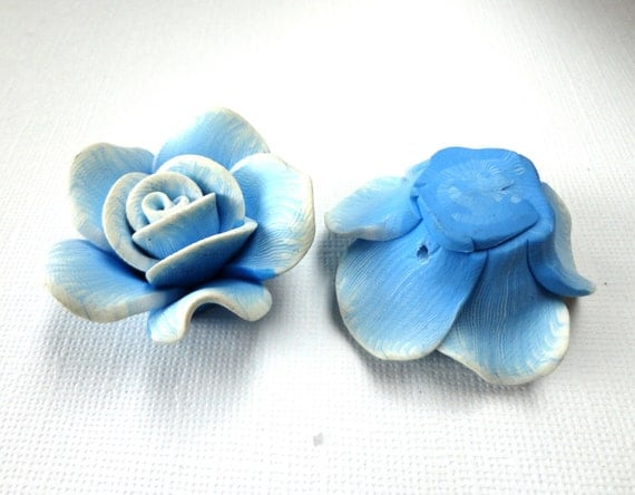 2 Large BABY BLUE and WHITE Polymer Clay Rose Beads