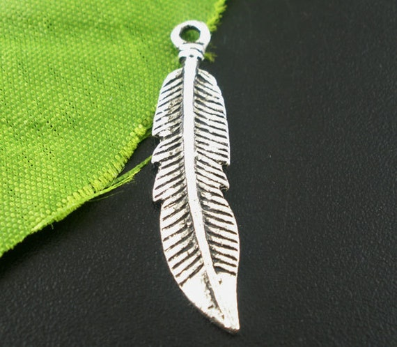 10 Silver Metal FEATHER CHARMS or Pendants
