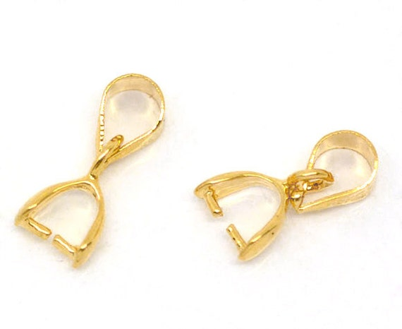 10 Gold Plated Pinch Clip Bail Beads Findings for Pendants   13x5mm   fba0039