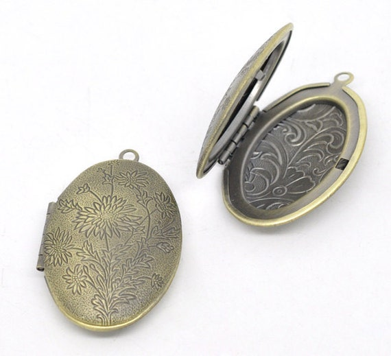 2 Antique Bronze Flower Pattern Oval Picture/ Photo Frame Locket Pendants 42x27mm (Fits 28.5x17.5mm) CHB0154