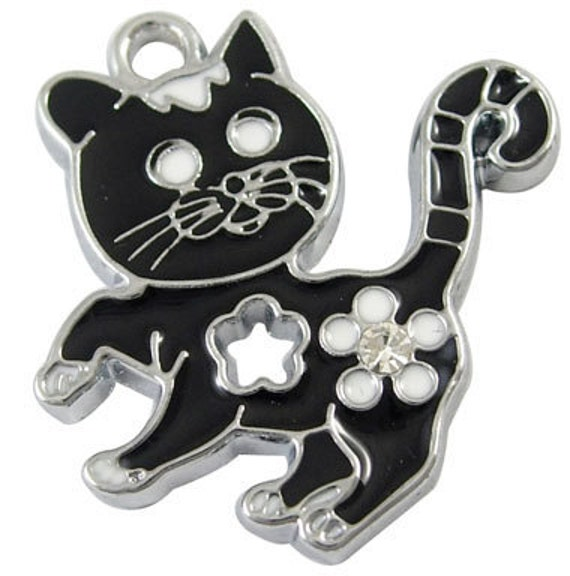 4 Silver Metal Enamel White and BLACK CAT CHARMS or Pendants with Flower and Rhinestone Accent