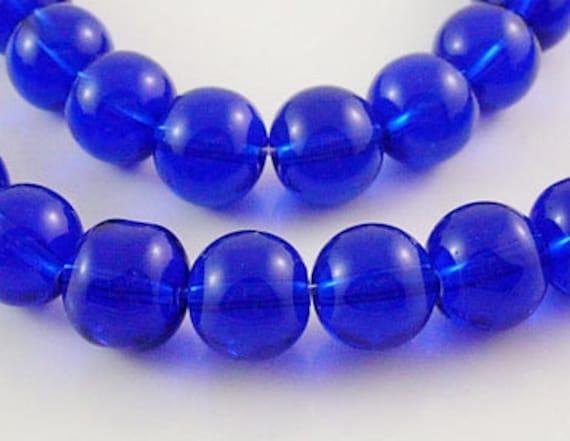 "COBALT BLUE 4mm Round Glass Beads . 1 strand . 13"" long bgl0913"