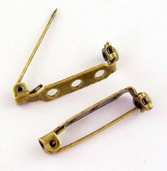 30 ANTIQUE BRONZE GOLD Metal Pin Backs, 27mm long pin0065