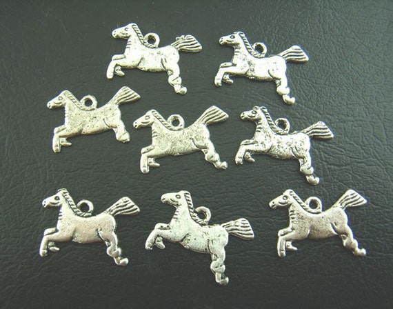 6 HORSE Charm Pendants 13x20mm . Silver pewter metal  chs0809