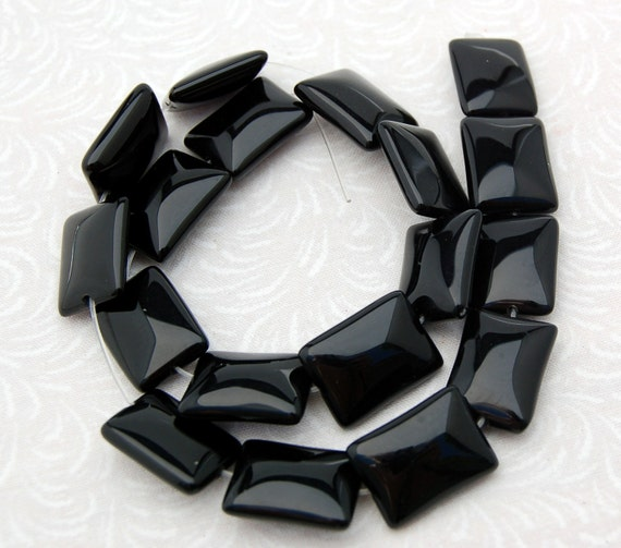 "1 Strand 13.5"" BLACK ONYX Puffed Pillow Rectangle Shaped Beads 18x14mm   Natural Gemstones"