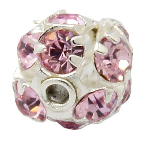 10 pc Silver Plated Rhinestone Disco Ball Spacer Beads Fireball . 6mm LIGHT PINK