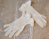Sale Lace Cream Cotton Gloves Vintage 1930's - Like New XXS XS Small Child