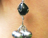 Sale - Silver Pearl and Stone Dangle Earrings