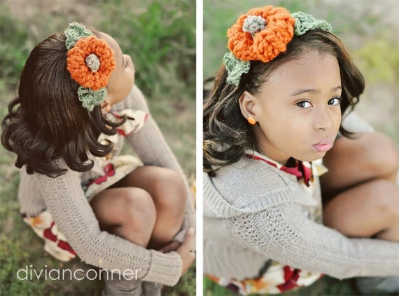CROCHET PATTERN, Mini Pumpkin Headband photo prop
