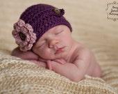 Baby Girl Crochet Newborn Hat Newsboy Style Button Strap Knit Infant Beanie Photography Prop Plum Purple Blush Pink Flower Ready to Ship Cap