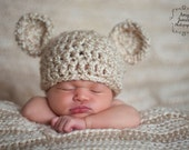 Bear Hat Newborn Baby Ready to Ship Chunky Cream Crochet Knit Beanie Photography Prop Ivory Off White Infant Girls Boys Twins Unisex Neutral