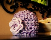 Newborn Girl Hat with Flower Baby Photography Photo Prop Chunky Crochet Knit Infant Hat in Purple Plum Lilac Iris Shower Gift Ready to Ship