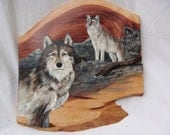 Reserved for Lori-Watching -original acrylic  painting of wolfs  on cedar