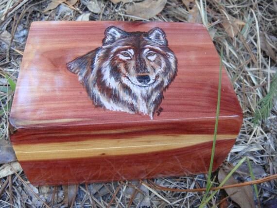 Cedar jewelry Box with woodburned Wolf