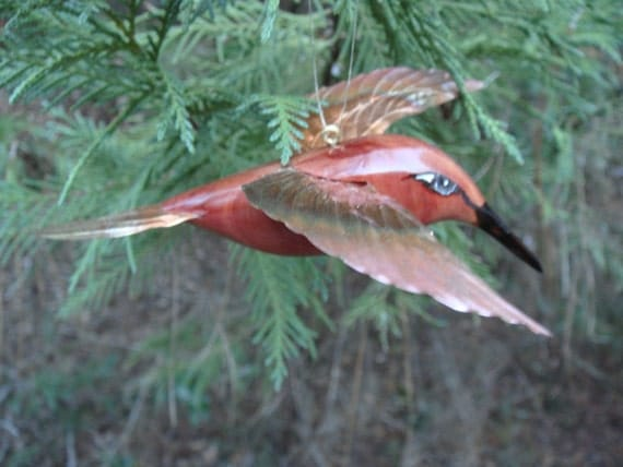 carved cedar and copper hummingbird