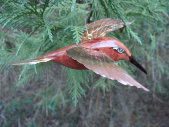 carved cedar and copper hummingbird