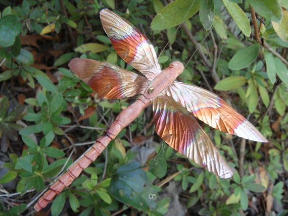 carved cedar and copper dragonfly