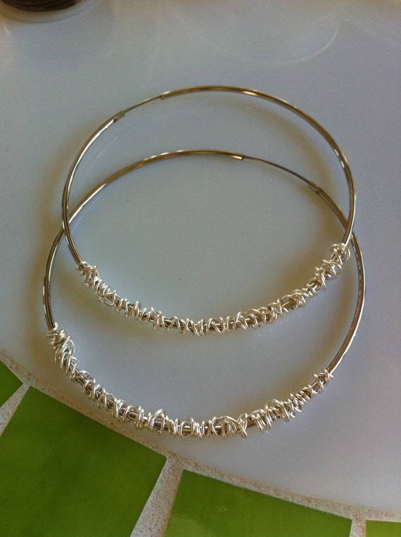 Silver Hoop Earrings Wire wrapped in Silver