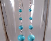 Turquoise Dangle Earrings, Silver, Round Stones