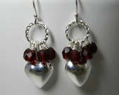 Silver Heart Earrings, Sterling Silver, Red Crystal Clusters, Twisted Rings, Dangle Earrings
