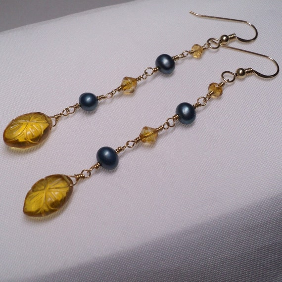 Pearl, Citrine Earrings with Etched Flower Quartz Dangles