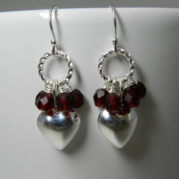 Silver Heart Earrings, Sterling Silver, Red Crystal Clusters, Twisted Rings, Dangle Earrings