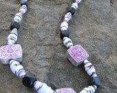 Unique Upcycled Paper Bead Necklace -Funky Fuchsia gifts under 15, 20 dollars