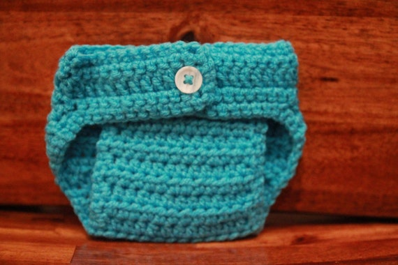 Crochet Diaper Cover - Turquoise - Photo Prop