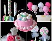 Washcloth Lollipops, set of 5, Cupcakes and Sugar Pop, WashAgami ™,  Instructional Videos