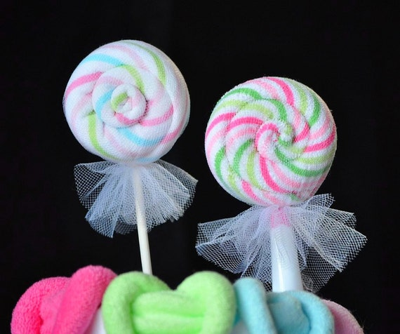 Baby Washcloth Round Lollipop, WashAgami ™,  Video Instructions for a Diaper Cake Topper
