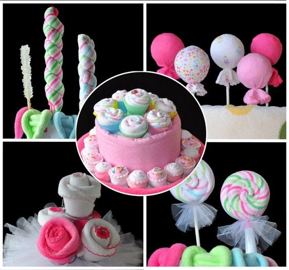 Washcloth Lollipops, set of 5, Cupcakes and Sugar Pop, WashAgami ™,  Instructional Videos