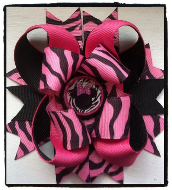 Minnie mouse zebra bow  with bottle cap center