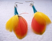 red yellow and teal feather earrings
