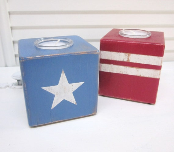 Americana, July 4th, Patriotic Stars and Stripes,  Red White and Blue decor - 4th of July Candle