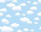 "54""x5' Photography Backdrop Whimsical Clouds / Spring / CHILDREN / VInyl"