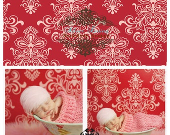 4.5 x 5 Foot Vinyl Photography Backdrop for Newborns, Babies, Adults and Children  --Red Damask Print
