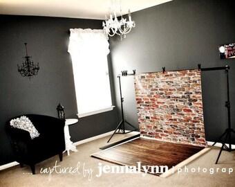 54in x 9ft Backdrop Combo - Split Brick & Textured Wood Photo Prop