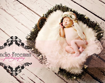 6ft x 6ft  Vinyl Photography Backdrop for Newborns, Babies and Children -- Faux Weathered White Wood